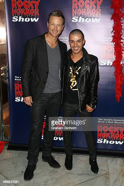 Musician Anthony Callea and partner Tim Campbell attend the Melbourne premiere of the Rocky Horror Musical on April 26 2014 in Melbourne Australia