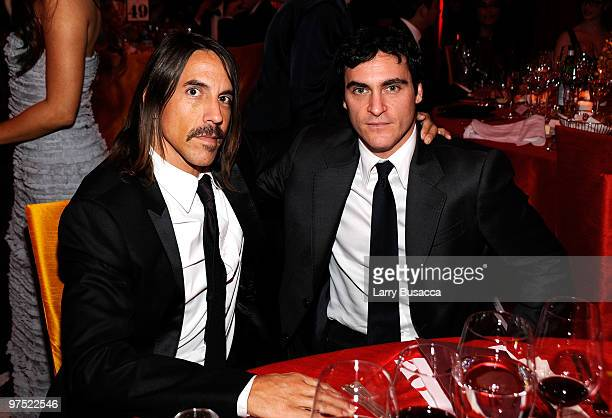 APPLY* Musician Anthony Kiedis and actor Joaquin Phoenix attend the 18th Annual Elton John AIDS Foundation Academy Award Party at Pacific Design...
