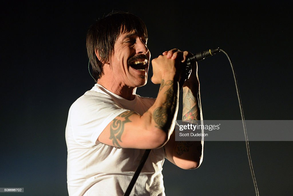 Musician Anthony Kiedis of the Red Hot Chili Peppers performs onstage during the 'Feel the Bern' fundraiser for Presidential candidate Bernie Sanders at Ace Theater Downtown LA on February 5, 2016 in Los Angeles, California.