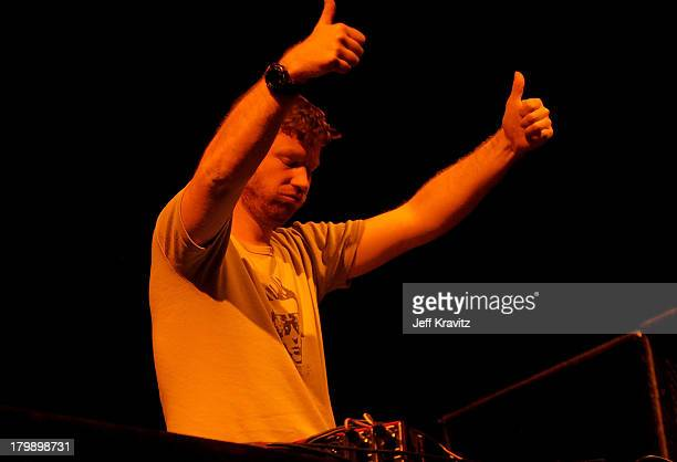 Musician Aphex Twin performs onstage during day 1 of the Coachella Valley Music and Arts Festival held at the Empire Polo Field on April 25 2008 in...