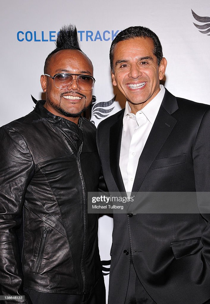 Musician apl.de.ap and Los Angeles Mayor <a gi-track='captionPersonalityLinkClicked' href=/galleries/search?phrase=Antonio+Villaraigosa&family=editorial&specificpeople=178925 ng-click='$event.stopPropagation()'>Antonio Villaraigosa</a> arrive at will.i.am of the Black Eyed Peas' First Annual TRANS4M i.am.angel Pre-GRAMMY event to benefit the neighborhood of Boyle Heights, Los Angeles at Hollywood Palladium on February 9, 2012 in Hollywood, California.
