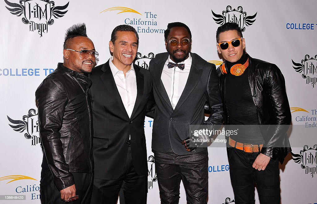 Musician apl.de.ap of the Black Eyed Peas, Los Angeles Mayor <a gi-track='captionPersonalityLinkClicked' href=/galleries/search?phrase=Antonio+Villaraigosa&family=editorial&specificpeople=178925 ng-click='$event.stopPropagation()'>Antonio Villaraigosa</a> and musicians will.i.am and <a gi-track='captionPersonalityLinkClicked' href=/galleries/search?phrase=Taboo+-+Singer&family=editorial&specificpeople=203068 ng-click='$event.stopPropagation()'>Taboo</a> of the Black Eyed Peas arrive at will.i.am of the Black Eyed Peas' First Annual TRANS4M i.am.angel Pre-GRAMMY event to benefit the neighborhood of Boyle Heights, Los Angeles at Hollywood Palladium on February 9, 2012 in Hollywood, California.