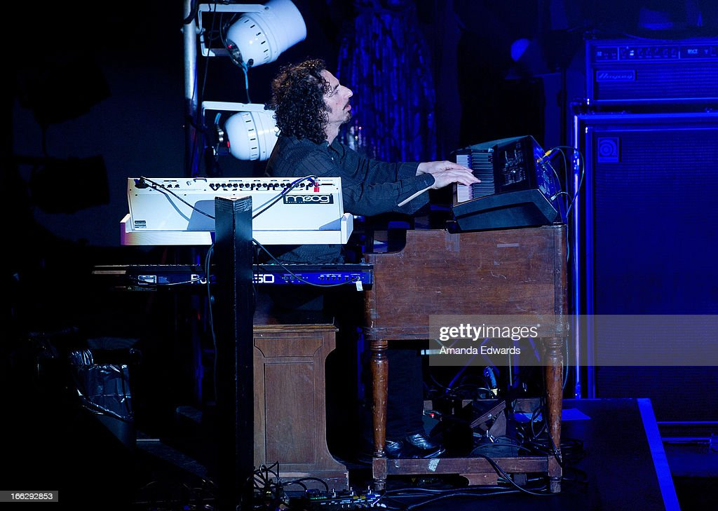 Musician Arlan Schierbaum of the band Heaven And Earth performs onstage at the Heaven And Earth 'Dig' world premiere album release party at The Fonda Theatre on April 10, 2013 in Los Angeles, California.