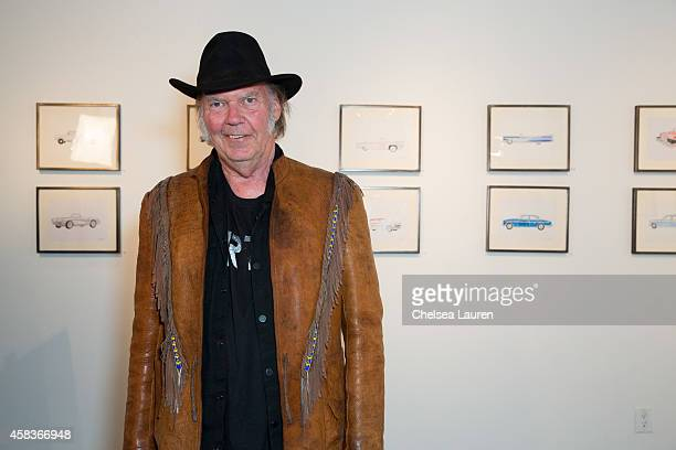 Musician / artist Neil Young attends his opening night reception for 'Special Deluxe' at Robert Berman Gallery on November 3 2014 in Santa Monica...