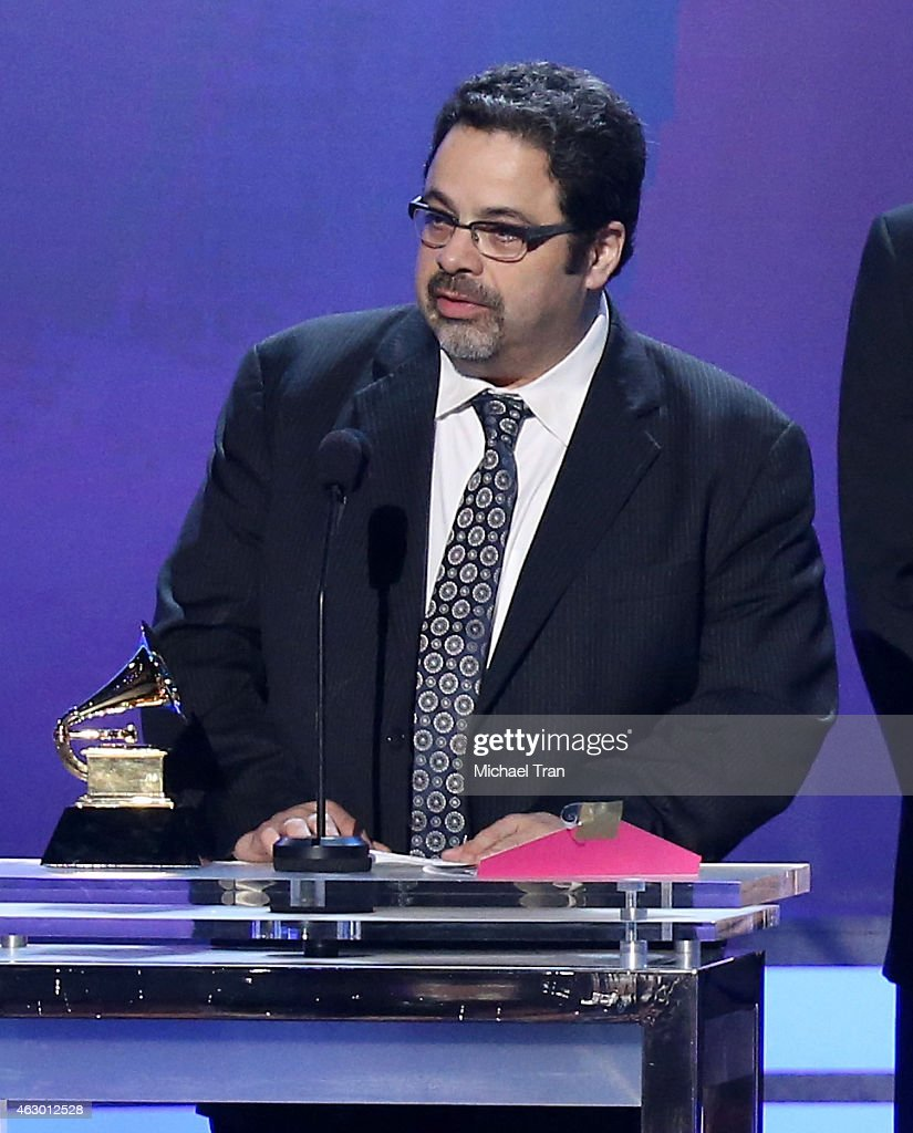 Musician <a gi-track='captionPersonalityLinkClicked' href=/galleries/search?phrase=Arturo+O%27Farrill&family=editorial&specificpeople=6649010 ng-click='$event.stopPropagation()'>Arturo O'Farrill</a> speaks onstage during The 57th Annual GRAMMY Awards premiere ceremony at STAPLES Center on February 8, 2015 in Los Angeles, California.