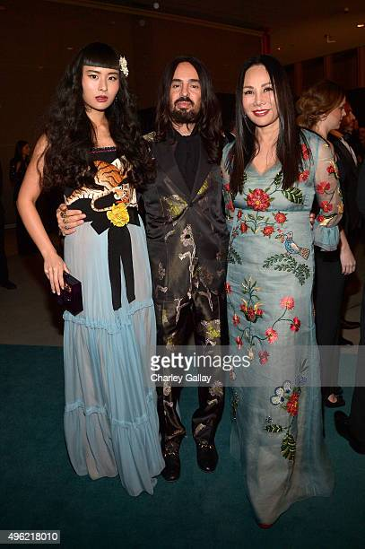 Musician Asia Chow wearing Gucci Creative Director of Gucci Alessandro Michele and Art Film Gala cochair and LACMA Trustee Eva Chow wearing Gucci...