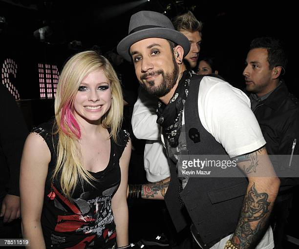 EXCLUSIVE ACCESS Musician Avril Lavigne and Backstreet Boys backstage at Z100's Jingle Ball 2007 at Madison Square Garden on December 14 2007 in New...
