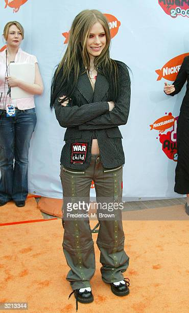 Musician Avril Lavigne attends Nickelodeon's 17th Annual Kids' Choice Awards at Pauley Pavilion on the campus of UCLA April 3 2004 in Westwood...