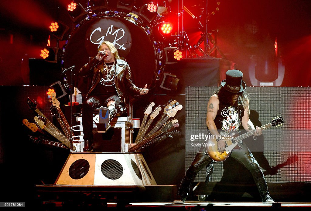 Musician Axl Rose and Slash of Guns N' Roses performs onstage during day 2 of the 2016 Coachella Valley Music & Arts Festival Weekend 1 at the Empire Polo Club on April 16, 2016 in Indio, California.