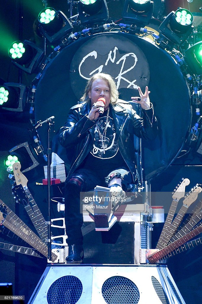 Musician Axl Rose of Guns N' Roses performs onstage during day 2 of the 2016 Coachella Valley Music & Arts Festival Weekend 1 at the Empire Polo Club on April 16, 2016 in Indio, California.