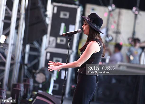 Musician Banks performs onstage during day 2 of the 2014 Coachella Valley Music Arts Festival at the Empire Polo Club on April 12 2014 in Indio...