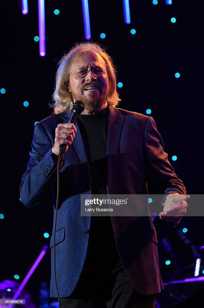 Musician <a gi-track='captionPersonalityLinkClicked' href=/galleries/search?phrase=Barry+Gibb&family=editorial&specificpeople=208122 ng-click='$event.stopPropagation()'>Barry Gibb</a> performs onstage during the Pre-GRAMMY Gala and Salute To Industry Icons honoring Martin Bandier at The Beverly Hilton Hotel on February 7, 2015 in Beverly Hills, California.