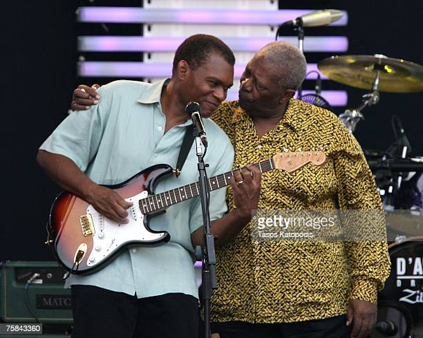 Musician BB King hugs musician Robert Cray following his performance at the Crossroads Guitar Festival 2007 held at Toyota Park on July 28 2007 in...