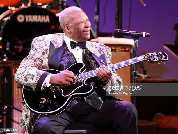Musician BB King onstage during the Thelonious Monk Institute of Jazz honoring BB King event held at the Kodak Theatre on October 26 2008 in Los...