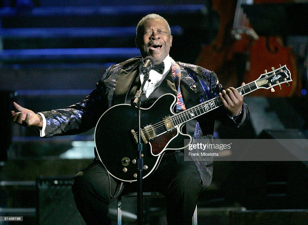Musician B.B. King performs 'Hard Times' onstage at CBS' Ray Charles Tribute Concert at the Staples Center on October 8, 2004 in Los Angeles, California.