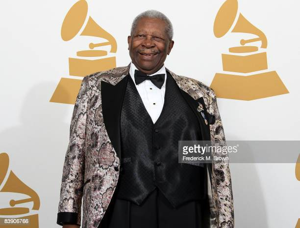 Musician BB King poses in the press room during the Grammy Nominations concert live held at the Nokia Theatre LA Live on December 3 2008 in Los...