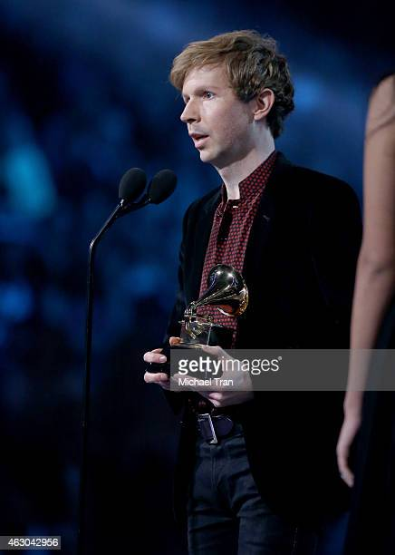 Musician Beck accepts an award onstage during The 57th Annual GRAMMY Awards at STAPLES Center on February 8 2015 in Los Angeles California