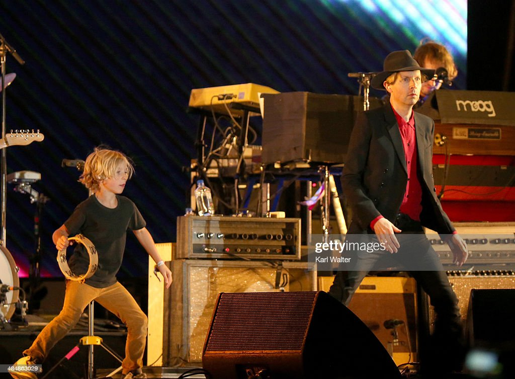 Musician <a gi-track='captionPersonalityLinkClicked' href=/galleries/search?phrase=Beck+-+Musician&family=editorial&specificpeople=149906 ng-click='$event.stopPropagation()'>Beck</a> (R) and his son Cosimo perform onstage during day 3 of the 2014 Coachella Valley Music & Arts Festival at the Empire Polo Club on April 13, 2014 in Indio, California.