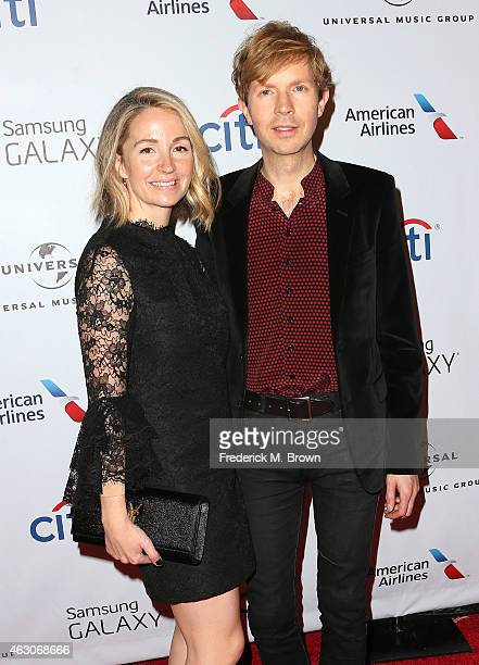 Musician Beck and his wife actress Marissa Ribisi attend the Universal Music Group 2015 Post GRAMMY Party at The Theatre Ace Hotel Downtown LA on...