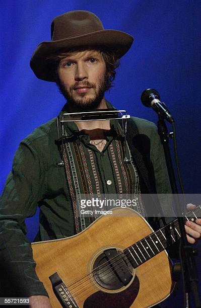 Musician Beck performs at the 'ReAct Now Music Relief' benefit concert at Paramount Studios on September 9 2005 in Hollywood California The special...