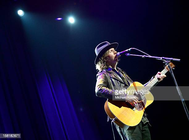 Musician Beck performs onstage at the WE HATE HURRICANES Comedy Benefit For AmeriCares at Club Nokia on December 10 2012 in Los Angeles California