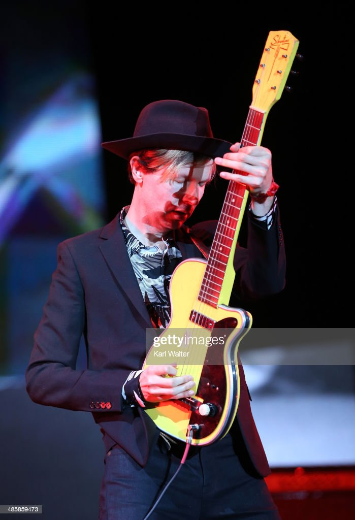Musician <a gi-track='captionPersonalityLinkClicked' href=/galleries/search?phrase=Beck+-+Musician&family=editorial&specificpeople=149906 ng-click='$event.stopPropagation()'>Beck</a> performs onstage during day 3 of the 2014 Coachella Valley Music & Arts Festival at the Empire Polo Club on April 20, 2014 in Indio, California.
