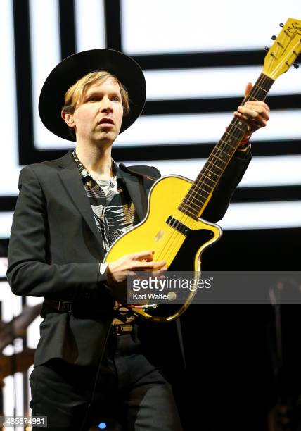 Musician Beck performs onstage during day 3 of the 2014 Coachella Valley Music Arts Festival at the Empire Polo Club on April 20 2014 in Indio...