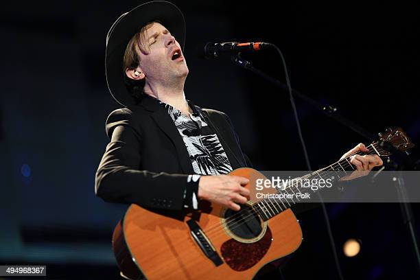 Musician Beck performs onstage during the 22nd Annual KROQ Weenie Roast at Verizon Wireless Music Center on May 31 2014 in Irvine California