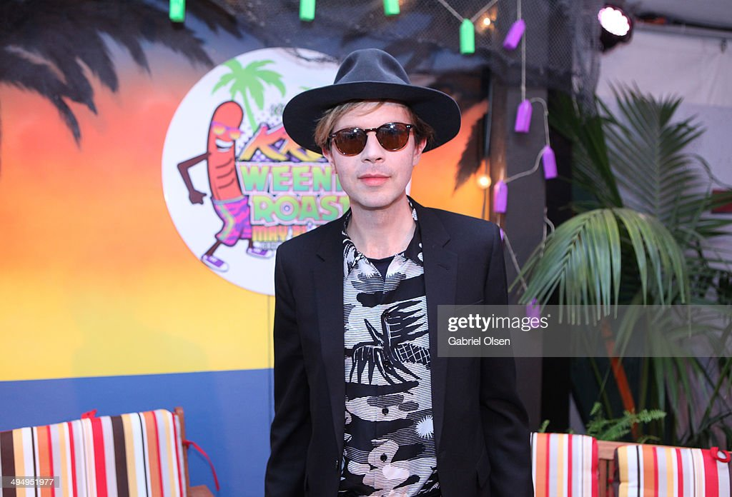 Musician <a gi-track='captionPersonalityLinkClicked' href=/galleries/search?phrase=Beck+-+Musician&family=editorial&specificpeople=149906 ng-click='$event.stopPropagation()'>Beck</a> poses backstage during the 22nd Annual KROQ Weenie Roast at Verizon Wireless Music Center on May 31, 2014 in Irvine, California.