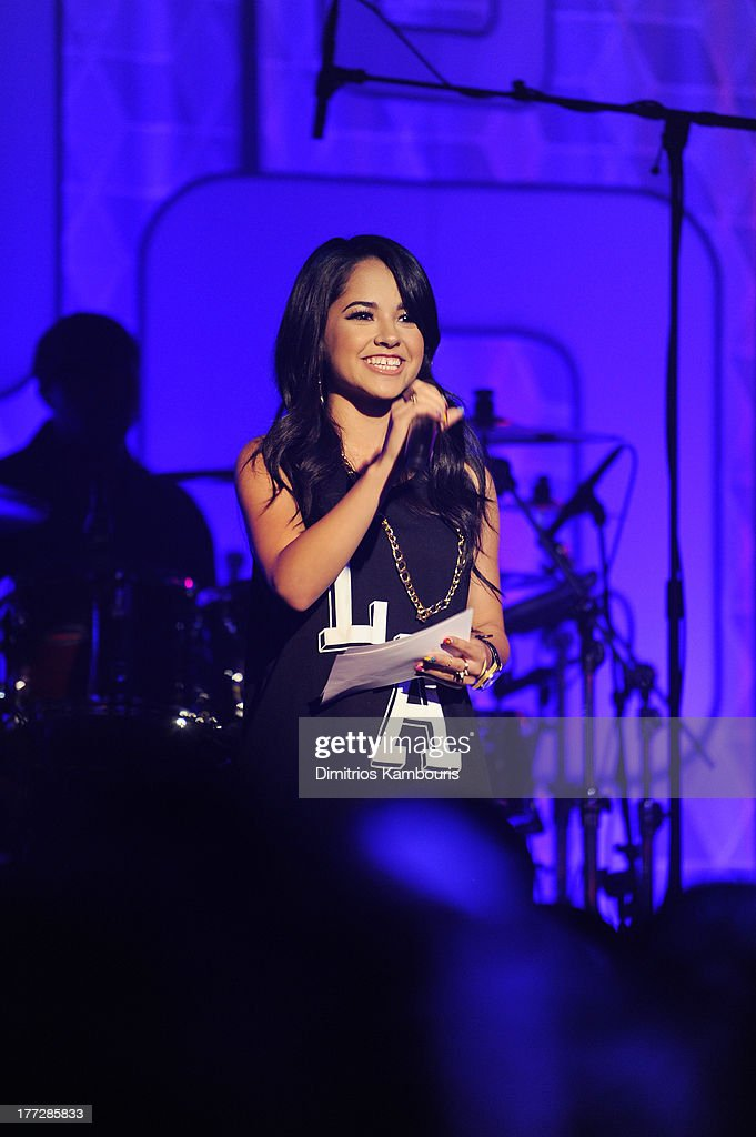 Musician Becky G speaks onstage at Easy, Breezy, Brooklyn hosted by Becky G and presented by MTV and COVERGIRL at Music Hall of Williamsburg on August 22, 2013 in the Brooklyn borough of New York City.