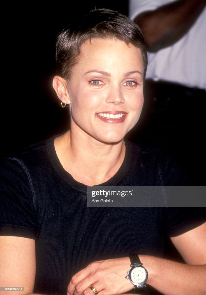 Musician Belinda Carlisle of The GoGo's autographs copies of their new album 'Return to the Valley of The GoGo's' on October 21 1994 at Tower Records...