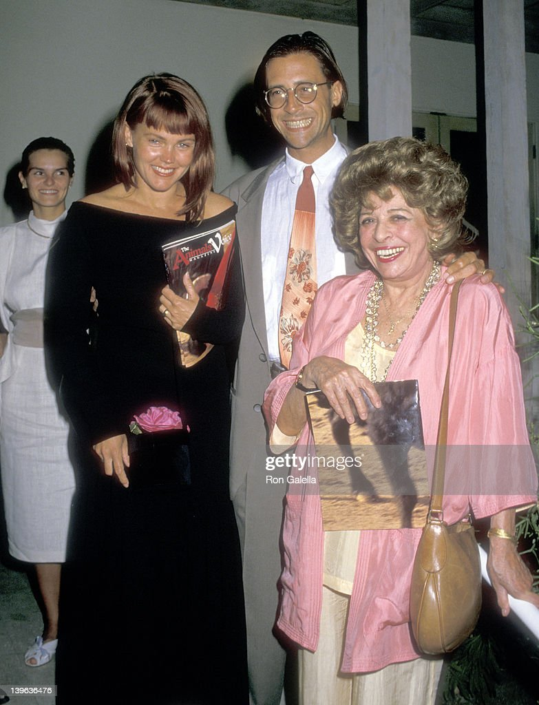 Musician Belinda Carlisle of The GoGo's husband Morgan Mason and his mother Pamela Mason on June 26 1988 dine at Spago in West Hollywood California