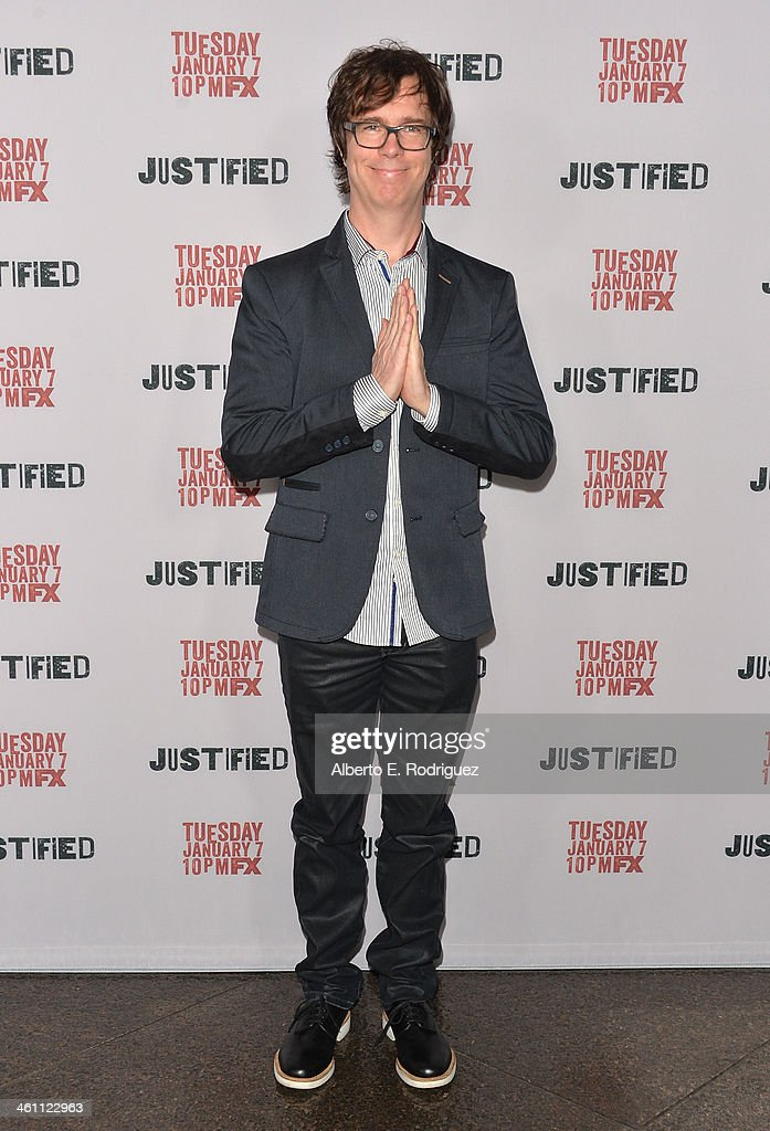 Musician <a gi-track='captionPersonalityLinkClicked' href=/galleries/search?phrase=Ben+Folds&family=editorial&specificpeople=213735 ng-click='$event.stopPropagation()'>Ben Folds</a> arrives to the Season 5 premiere of FX's 'Justified' at DGA Theater on January 6, 2014 in Los Angeles, California.