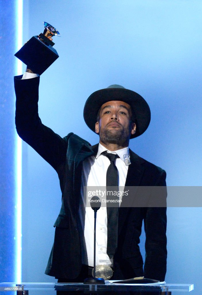 Musician Ben Harper accepts the Best Blues Album award for 'Get Up' onstage during the 56th GRAMMY Awards PreTelecast Show at Nokia Theatre LA Live...