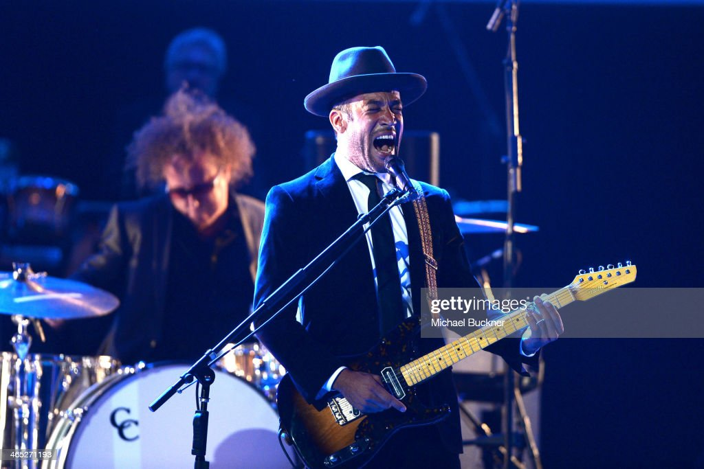Musician <a gi-track='captionPersonalityLinkClicked' href=/galleries/search?phrase=Ben+Harper&family=editorial&specificpeople=206209 ng-click='$event.stopPropagation()'>Ben Harper</a> onstage during the 56th GRAMMY Awards Pre-Telecast at Nokia Theatre L.A. Live on January 26, 2014 in Los Angeles, California.