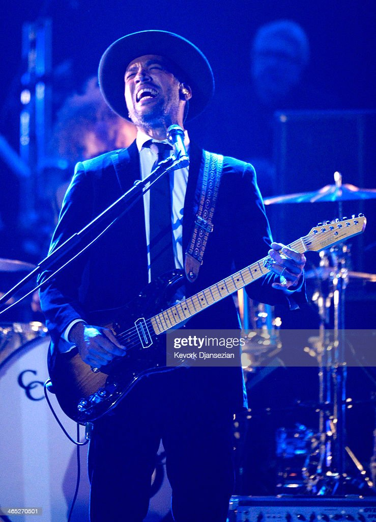 Musician Ben Harper performs onstage during the 56th GRAMMY Awards PreTelecast Show at Nokia Theatre LA Live on January 26 2014 in Los Angeles...