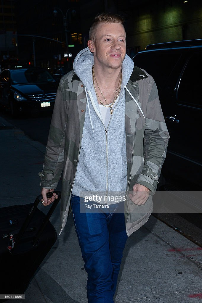Musician Ben '<a gi-track='captionPersonalityLinkClicked' href=/galleries/search?phrase=Macklemore&family=editorial&specificpeople=7639427 ng-click='$event.stopPropagation()'>Macklemore</a>' Haggerty enters the 'Late Show With David Letterman' taping at the Ed Sullivan Theater on January 31, 2013 in New York City.
