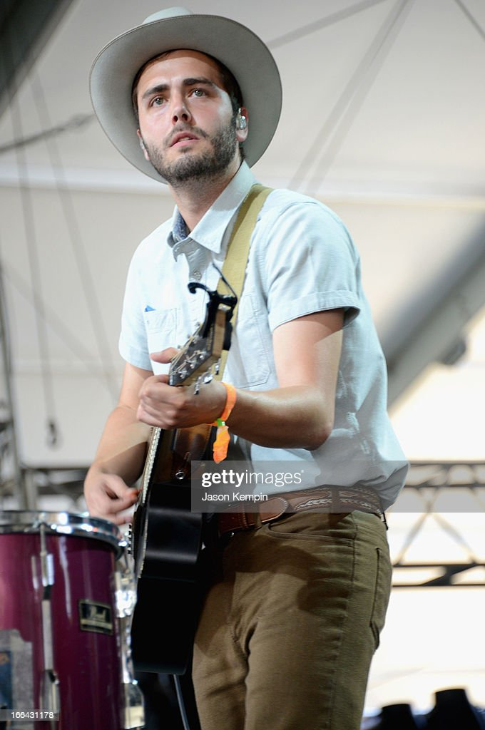 Musician Ben Schneider of Lord Huron performs onstage during day 1 of the 2013 Coachella Valley Music Arts Festival at the Empire Polo Club on April...