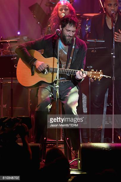 Musician Ben Taylor performs onstage during the 2016 PreGRAMMY Gala and Salute to Industry Icons honoring Irving Azoff at The Beverly Hilton Hotel on...