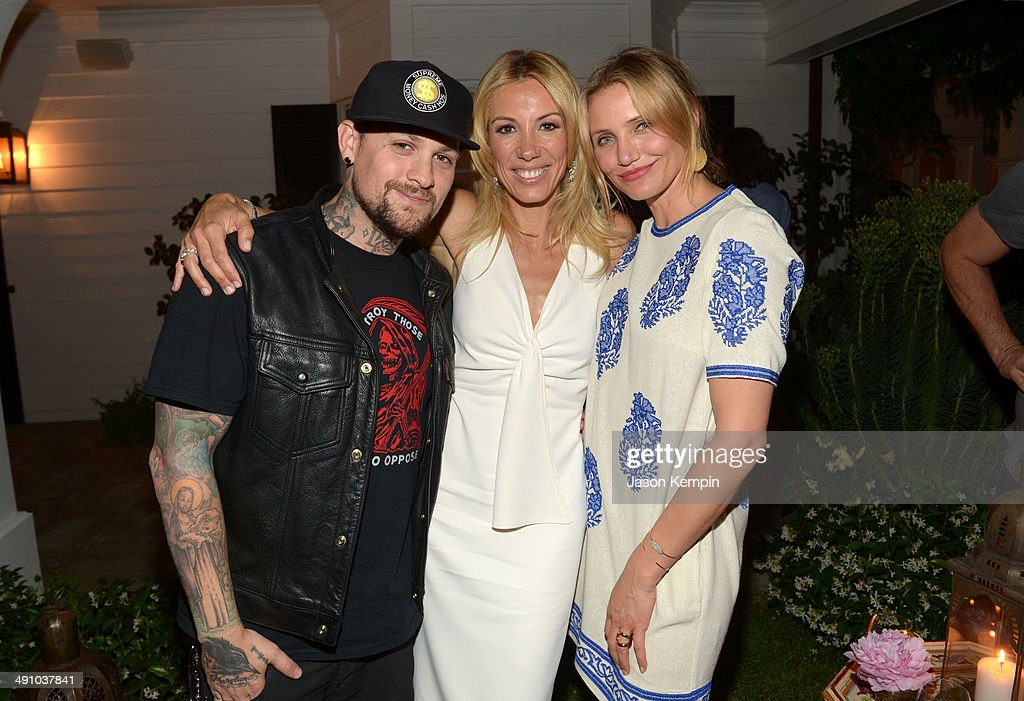 Musician <a gi-track='captionPersonalityLinkClicked' href=/galleries/search?phrase=Benji+Madden&family=editorial&specificpeople=210590 ng-click='$event.stopPropagation()'>Benji Madden</a>, author Vicky Vlachonis, and actress <a gi-track='captionPersonalityLinkClicked' href=/galleries/search?phrase=Cameron+Diaz&family=editorial&specificpeople=201892 ng-click='$event.stopPropagation()'>Cameron Diaz</a> celebrate the launch of The Body Doesn't Lie by Vicky Vlachonis on May 15, 2014 in Los Angeles, California.