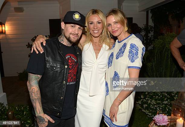 Musician Benji Madden author Vicky Vlachonis and actress Cameron Diaz celebrate the launch of The Body Doesn't Lie by Vicky Vlachonis on May 15 2014...