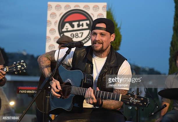 Musician Benji Madden performs at the 987 FM's Penthouse Party Pad at The Historic Hollywood Tower on July 30 2014 in Hollywood California