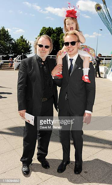 Musician Benny Andersson son Ludvig Andersson and his daughter attend Investec Ladies Day at the Investec Derby Festival on June 3 2011 in Epsom...