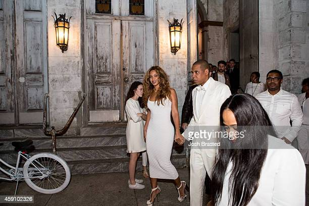 Musician Beyonce Knowles and Jay Z depart the Marigny Opera House following the wedding of Solange Knowles and Alan Ferguson on November 16 2014 in...