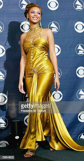 Musician Beyonce Knowles poses backstage in the Pressroom at the 46th Annual Grammy Awards held at the Staples Center on February 8 2004 in Los...