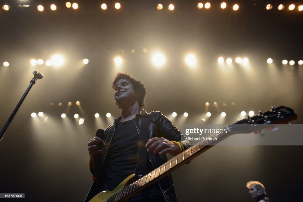 Musician <a gi-track='captionPersonalityLinkClicked' href=/galleries/search?phrase=Billie+Joe+Armstrong&family=editorial&specificpeople=201545 ng-click='$event.stopPropagation()'>Billie Joe Armstrong</a> of Green Day performs during the 2013 SXSW Music, Film + Interactive Festival at ACL Live on March 15, 2013 in Austin, Texas.