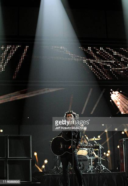 Musician Billie Joe Armstrong of Green Day performs onstage at the 2009 American Music Awards at Nokia Theatre LA Live on November 22 2009 in Los...
