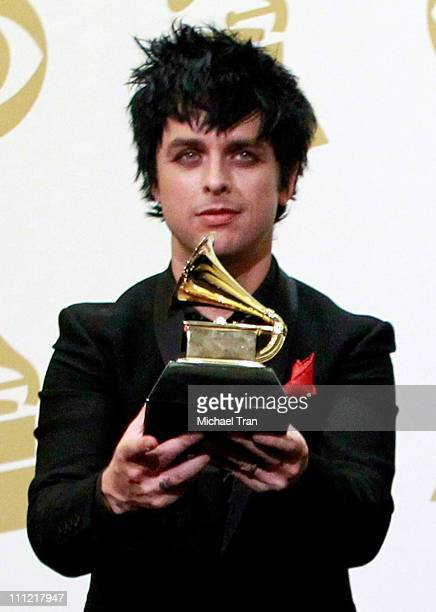 Musician Billie Joe Armstrong of Green Day poses in the press room at the 52nd Annual GRAMMY Awards held at Staples Center on January 31 2010 in Los...