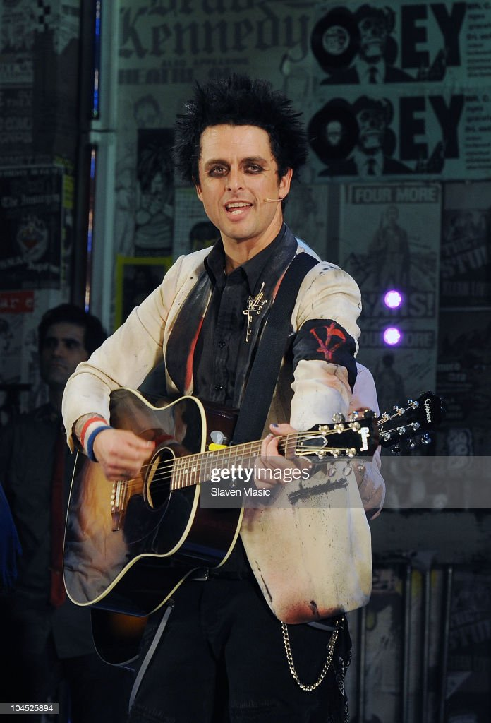 Musician Billie Joe Armstrong performs during the 'American Idiot' curtain call at St James Theater on September 28, 2010 in New York City.