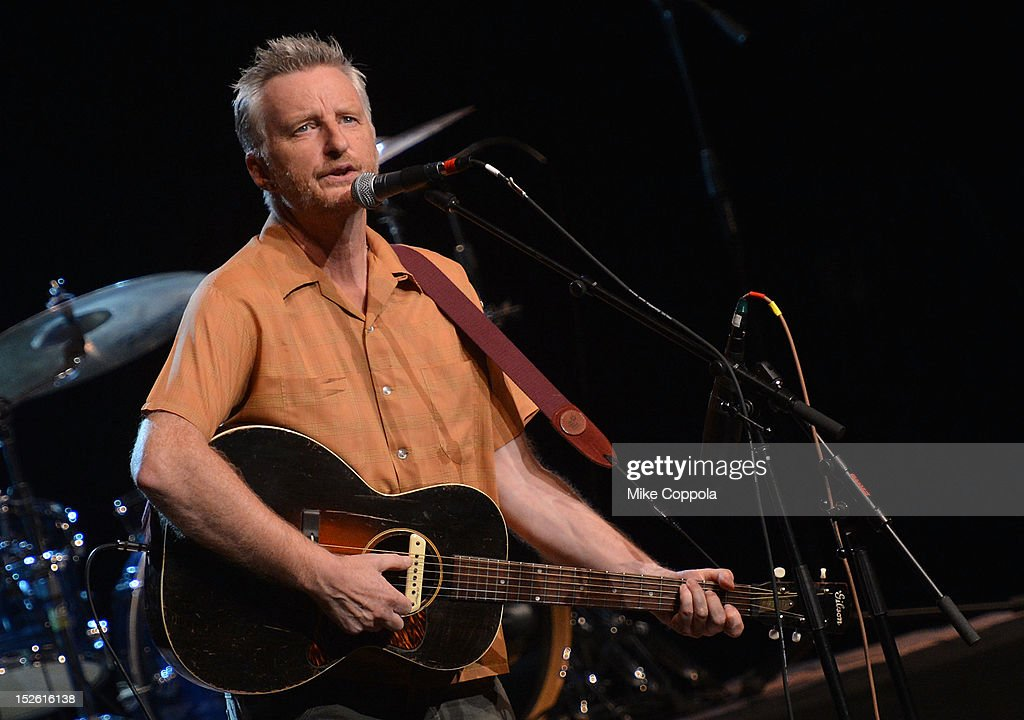 Musician Billy Bragg performs during the 'This Land Is Your Land' Woody Guthrie At 100 Concert as part of the Woody Guthrie Centennial Celebration at The Whitman Theater at Brooklyn College on September 22, 2012 in New York City.